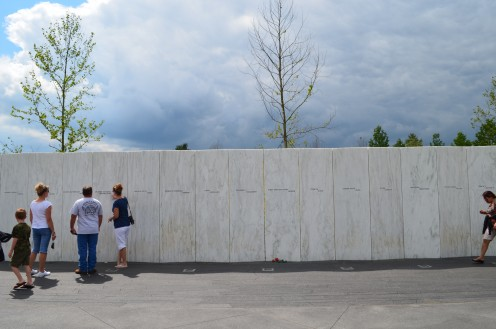 Wall of Names, one name on each pillar of remembrance.