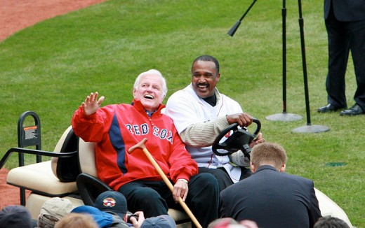 Former Red Sox outfielder Jim Rice and the late Senator Ted Kennedy before a Red Sox game in 2009.