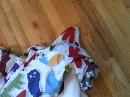 See that stuffy corner? Make sure you keep it separate from the rest of the blanket. Otherwise, it gets swallowed.