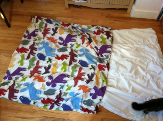 See how shaking brings the duvet cover down a bit? 50% there! Don't worry, Cocoa wasn't hurt during the shaking.