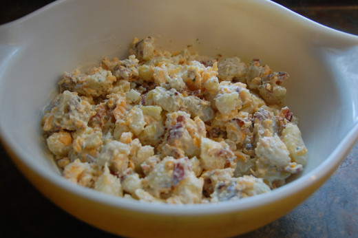 Loaded baked potato salad at home