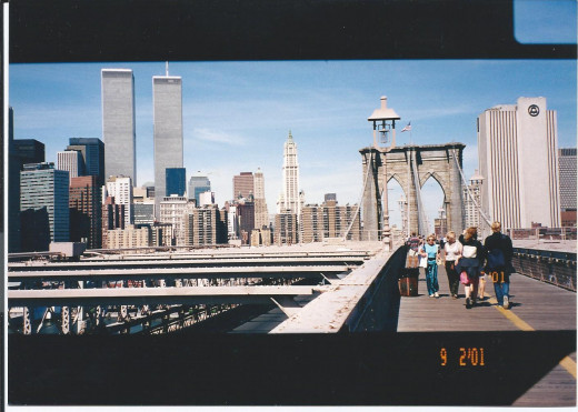 The towers as viewed from the Brooklyn Bridge.