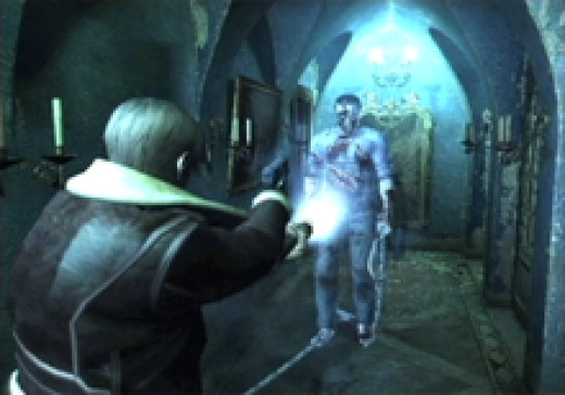 "Screen shot of the ""hook-man version"" of Resident Evil 4"