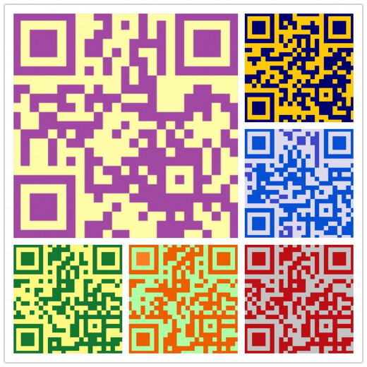 "All of the QR Codes can be scanned.  This collage was composed using the ""Grid"" feature."