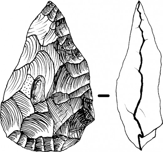 "Drawing of a handaxe -  one side has been ""worked"" more than the other (right) to provide an edge."