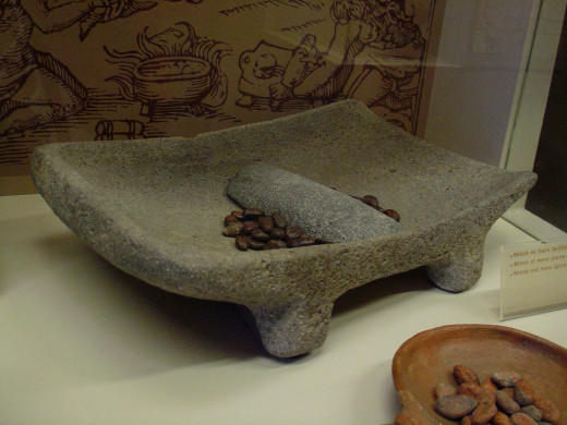 Mano (hand held stone) and metate (bowl) grinding up cacao.