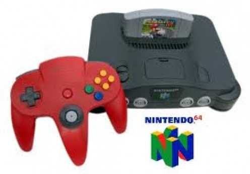 The Nintendo 64 was a 64 bit video game console. It came packed with Super Mario 64 and two controllers and the system produced hundreds of games.