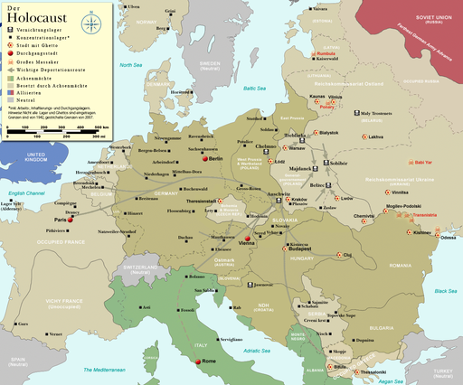 MAP OF EUROPE SHOWING CAMPS