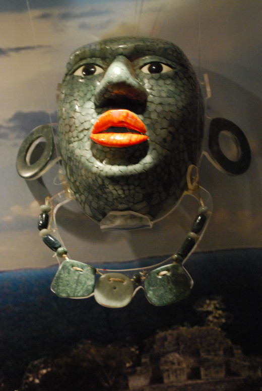 Replica of a Mayan mask from Campeche at the Museo Mesoamericano de Jade in San Cristobal de las Casas, Chiapas, Mexico.