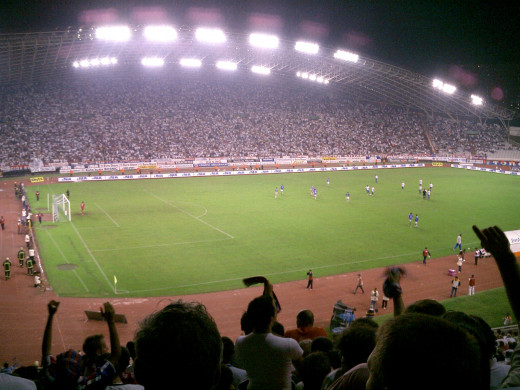 A soccer match between Hajduk (the raiders) from Split, versus Dinamo from Zagreb.  These two teams are arch rivals and the game is quite lively!