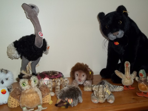 A sampling of old and new Steiff animals.