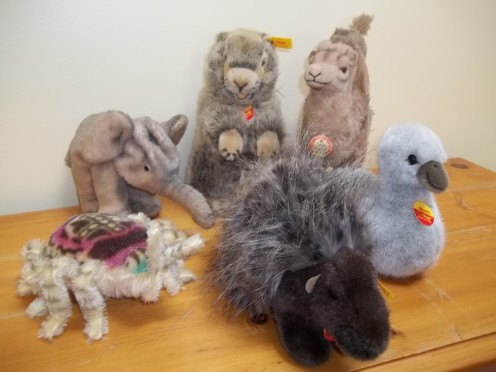 "A sampling of some Steiff ""friends"", both old and new."