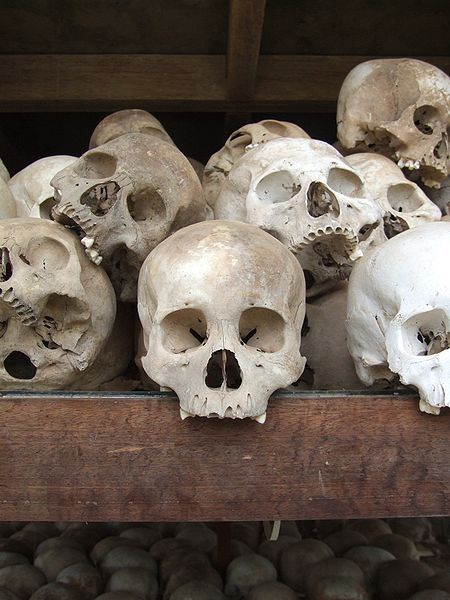 Skulls on display at Choeung Ek, the Cambodian Killing Fields.