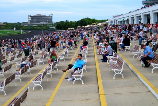 Race fans filling up outdoor seats.