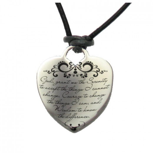 Florentine Serenity Prayer Heart on Leather Cord