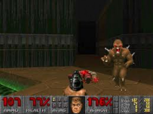 Doom is a classic first person shooter video game. This game has had several sequels and it is rated R.