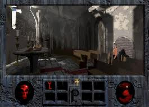 Phantasmagoria was a horror video game made for computers and it had a sequel. It mostly takes place at a humongous mansion.