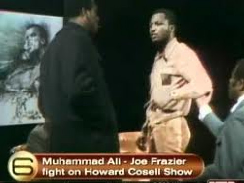 Joe Frazier and Muhammad Ali about to Scuffle On national television with Howard Cosell commentating.