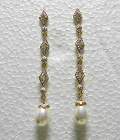 White Long Dangle Earrings