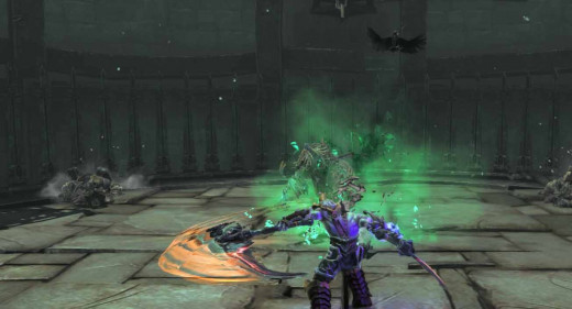 Darksiders 2 Get the First Soul by defeating the monsters at the top of the tower.