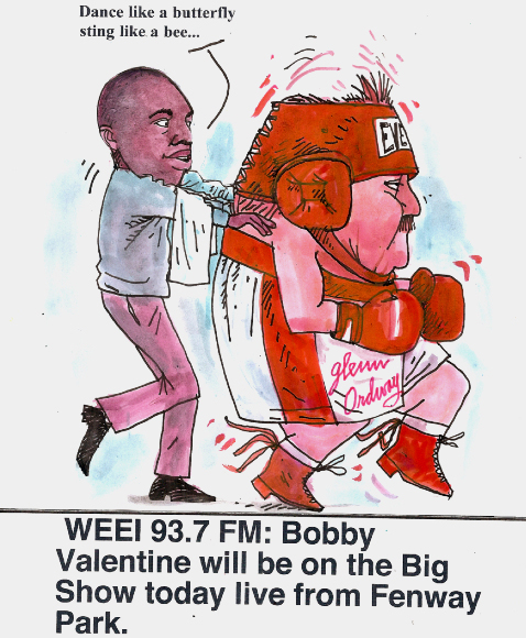 Cartoonist & Radio Host Larry Johnson depicts Glenn Ordway & partner Mike Holley getting ready for a Valetine's Day punch from the Punch Red Sox manager.