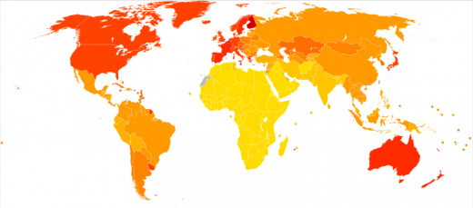 Red areas show 190 to 250+ people per 100,000 affected by Alzheimers or dementia; orange shows between 130 to 190 affected; yellow shows less than 50 to 130 affected. Curcumin, a chemical in ginger, may hold a cure to Alzheimers.