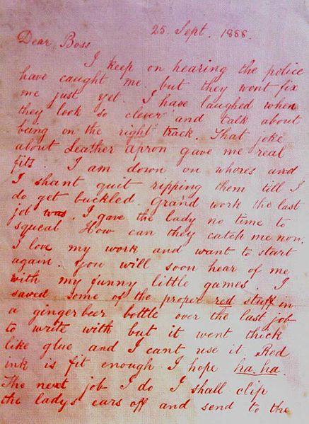 'Dear Boss' - Jack the Ripper letter 1