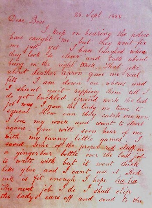 'Dear Boss' - Jack the Ripper letter 1