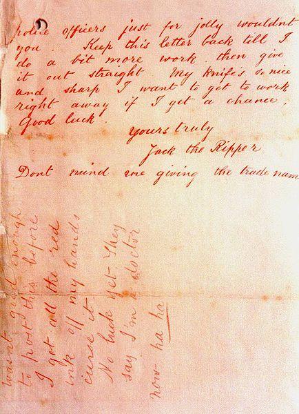 'Dear Boss' - Jack the Ripper letter 2