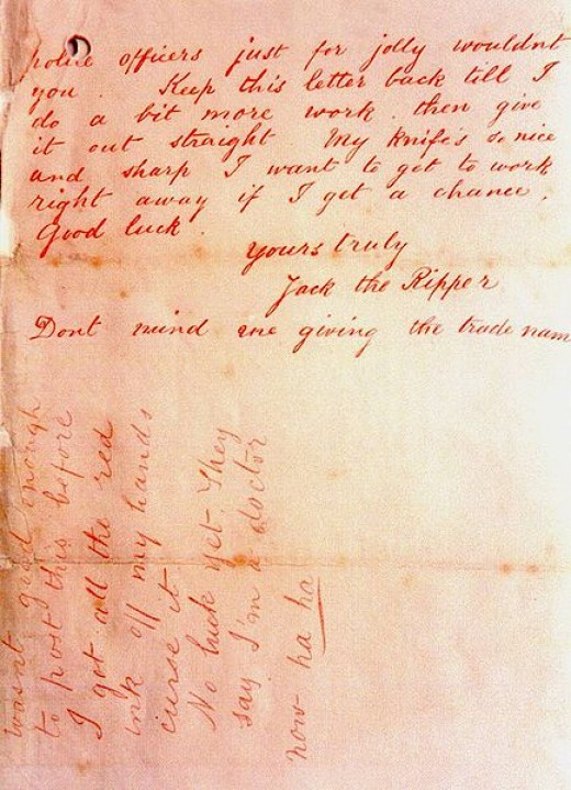 'Dear Boss' - Jack the Ripper letter 2