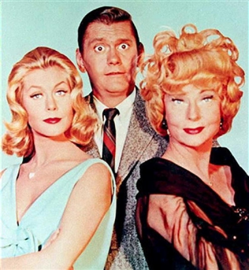 """BEWITCHED"" core cast: (from left), Elizabeth ""Samantha"" Montgomery; Dick ""Darrin"" York and Agnes ""Endora"" Moorehead."