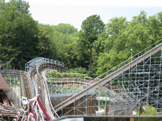 90 Degree banked turn and lift hill, Ravine Flyer II as viewed from the ferris wheel.