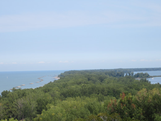 View of Presque Isle, Lake Erie, Presque Isle Bay and the beaches are fleeting on the lift hill of the Ravine Flyer II so these pictures were taken on the ferris wheel.