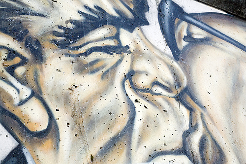 """Brotherly kiss""  by Erich Honecker and Leonid Brezhnev. Berlin Wall."