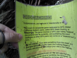 A laminated sheet that was in the geocache - to educate those that may stumble upon the find on accident.