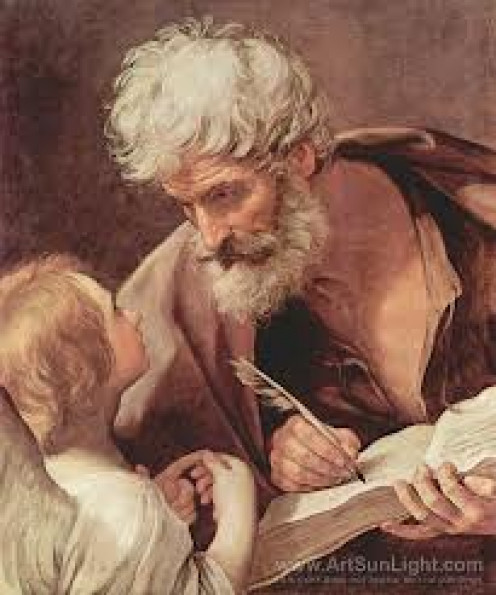 Saint Matthew  was one of the Apostles of Christ. This painting shows Saint Matthew teaching the Word.