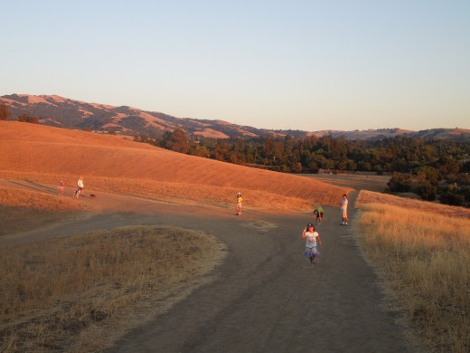 People Walking During Sunset in Montgomery Hill Park San Jose CA