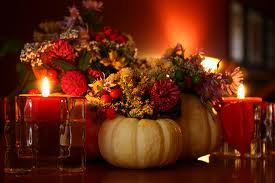 Using pumpkins and flowers to decorate