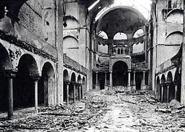The interior of a Synagogue in Berlin after the Kristallnacht