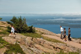 President Barack Obama and his family hike on Cadillac Mountain at Acadia National Park in Maine, July 16, 2010.
