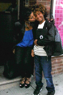 44 year old Toni Braxton kissing her autistic son Diezel outside of the Wendy William show April 2, 2012.