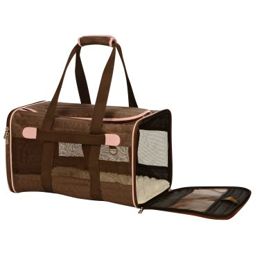 Sherpa Original Deluxe Brown and Pink Pet Carrier Airline Approved