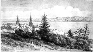 Barrie from a distance, 1874.