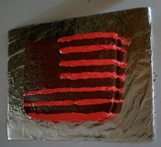 Red stripes all the way down the side.
