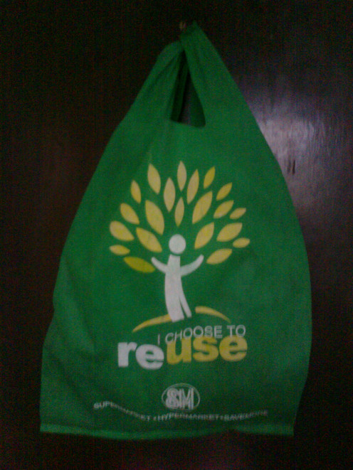 Recyclable bags distributed by SM Malls in the Philippines as part of the mall's environmental campaign.