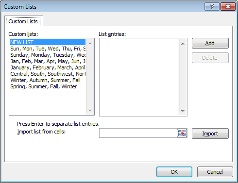 The range of built-in lists in Excel 2007.