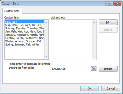Using a range of data to begin to create a custom list in Excel 2007.
