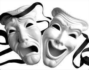 Traditional drama masks representing tragedy and comedy.