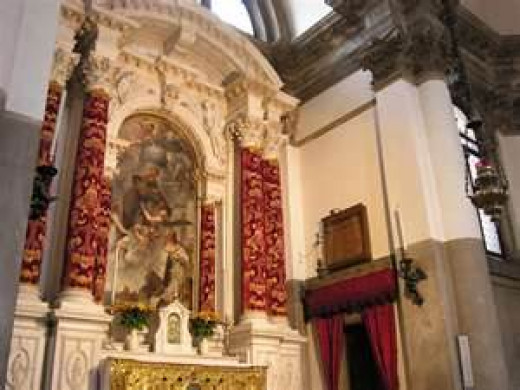 Basilica di Santa Maria Della Salute - Venice, Italy  Altar of St. Anthony - Painting by Pietro Liberi