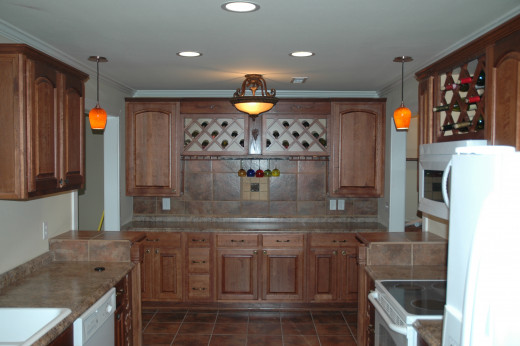 The backsplash in this buffet/wine rack create a stylish serving area.